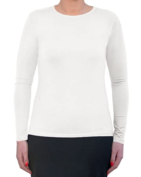 199c7605d82 Kosher Casual Women s Modest Long Sleeve High Crew Neck Layering Top Extra  Small White