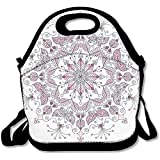 Lacy Pastel Floral With Butterfly And Lotus Figures Meditation Design Lunch Bag Tote For School Work Outdoor