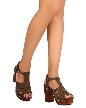 Qupid FE77 Women Faux Suede Peep Toe Strappy Wooden Platform Chunky Heel Sandal - Khaki (Size: 8.5)