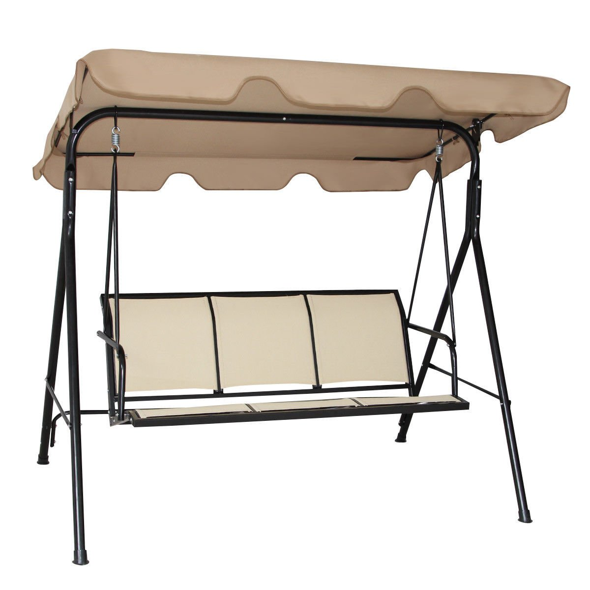 FDInspiration 67'' Light Brown Patio Textile Fiber Swing Canopy 3 Person Seat Capacity 550 Llbs w/Polyester Cloth Top Cover by FDInspiration