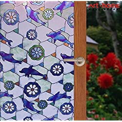 Arthome 23.6 x100 inch Stained Decorative Window Glass Privacy Films No Glue Non-Adhesive Self Frosted Static Cling Removable Anti UV for Bathroom Door Bedroom Kitchen Office (60 x 254 CM, Dolphin)