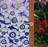 Arthome 35.4 x 100 inch Stained Decorative Window Glass Privacy Films No Glue Non-Adhesive Self Frosted Static Cling Removable Anti UV for Bathroom Door Bedroom Kitchen Office (90 x 254 CM, Dolphin)