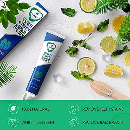 Charcoal Teeth Whitening Toothpaste, Tansmile Natural Activated Charcoal Toothpaste Mint Fluoride Free Toothpaste Bad Breath and Teeth Stains Remover Toothpaste (Pack of 1)