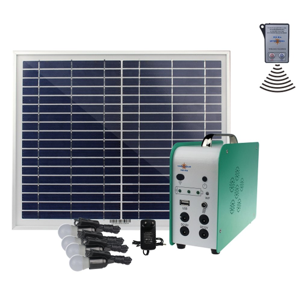 Cowin Solar Lighting System-4 x 3W Lamps, Aluminum Solar Panel, SMF Lead-Acid Battery Solar Power System Home, Remote Control Solar Energy Kit With 100-240V AC Adapter by COWIN