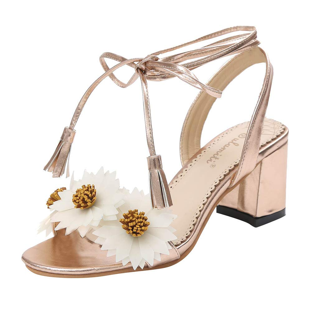 Lurryly Womens Open Toe Casual Ankle Buckle Strap Beach Flowers Thick Heel Roman Shoes