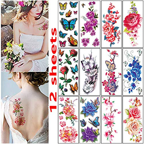 Flower Tattoos for Women Girls,Butterflies Roses Temporary Tattoos Paper,Sexy Body Waterproof Tattoos Stickers (12 Sheets)