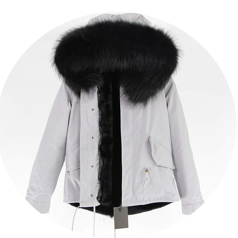 26 EnjoySexy Parka Winter Jacket Coat Women Natural Raccoon Fur Collar Hooded Warm Soft Faux Fur Liner