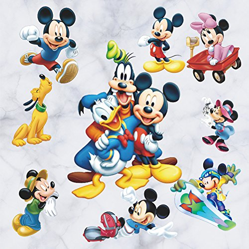 GoBuyMall Peel and Stick Wall Decals Stickers for Children & Kids & Baby & Nursery Wall Art Room Decor (Mickey Mouse and ()