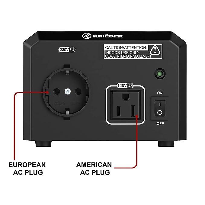 KRIËGER 600 Watt Voltage Transformer, 110/120V to 220/240V Step Up Step Down Voltage Converter, MET Approved Under UL, CSA
