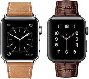 MARGE PLUS Compatible with Apple Watch Genuine Leather Band 42mm 44mm Brown & Compatible with Apple Watch Band 44mm 42mm Alligator Grain Calf Genuine Leather Band Brown