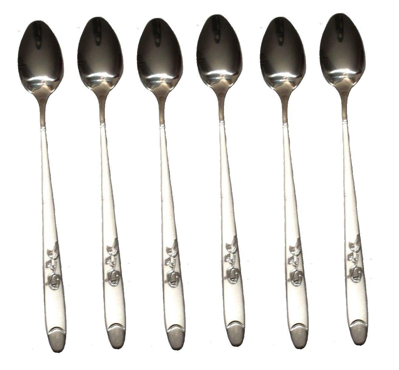 6 x Stainless Steel Stylish Long Handle Latte Ice Cream Sundae Coffee Spoon 20cm