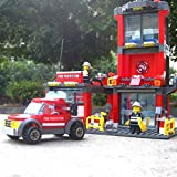 KAZI City Fire Station 300pcs Building Blocks Compatible with Lego FireTruck Model Toys Bricks Comes With Firefighter Minifigure