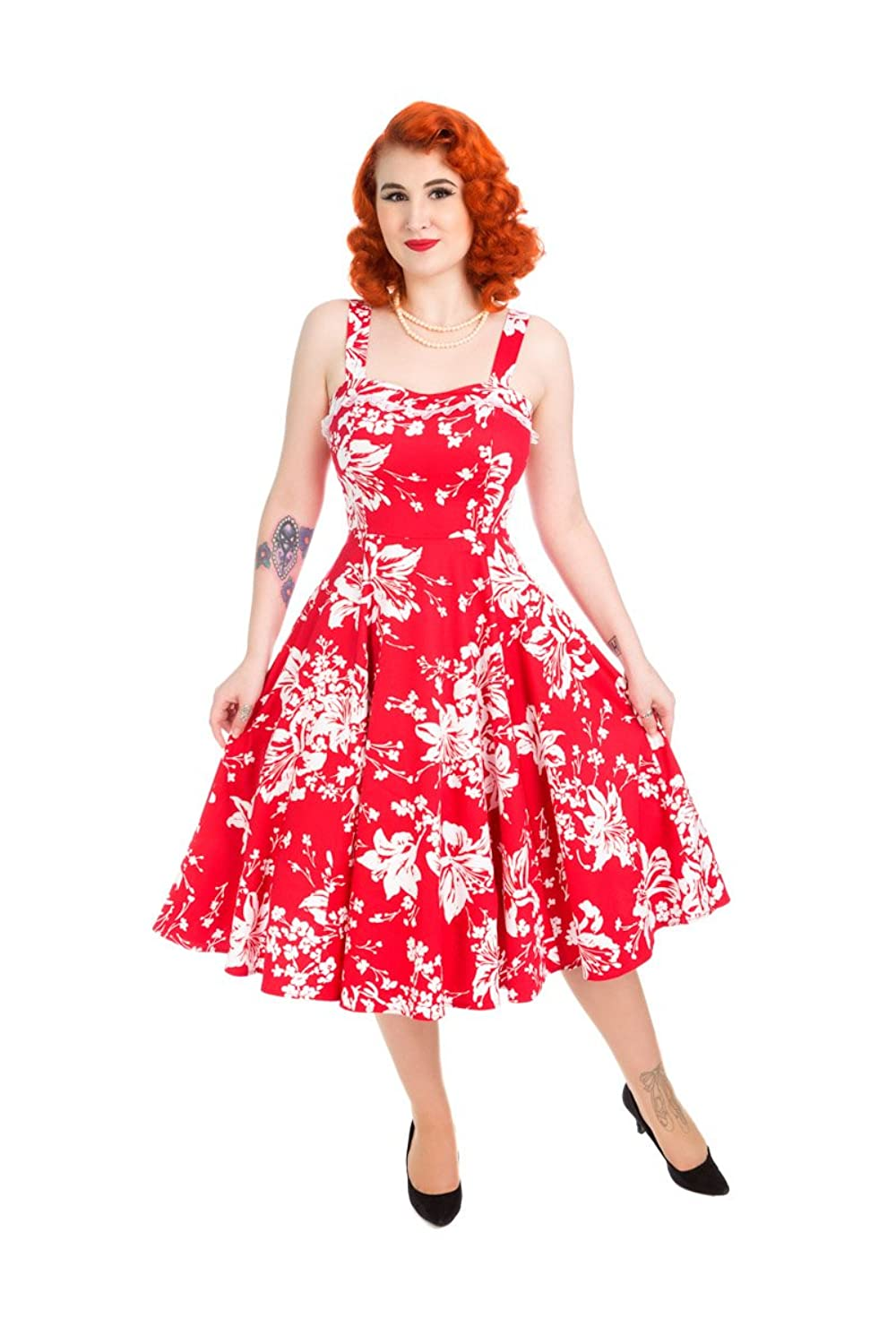 1950s Fashion Dresses:  Floral, Tropical, Tiki, Hawaiian Hearts And Roses Womens White Red Regal Lily Floral Swing Dress Rockabilly £23.95 AT vintagedancer.com