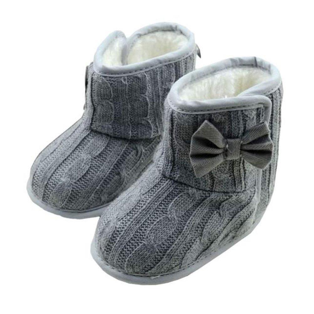 Gotd Baby Girls Snow Boots Bowknot Soft Sole Winter Warm Shoes Prewalker (6-12 Months, Gray)