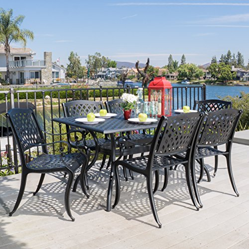 Great Deal Furniture Marietta   7 Piece Cast Aluminum Outdoor Dining Set   Perfect for Patio   in Black Sand
