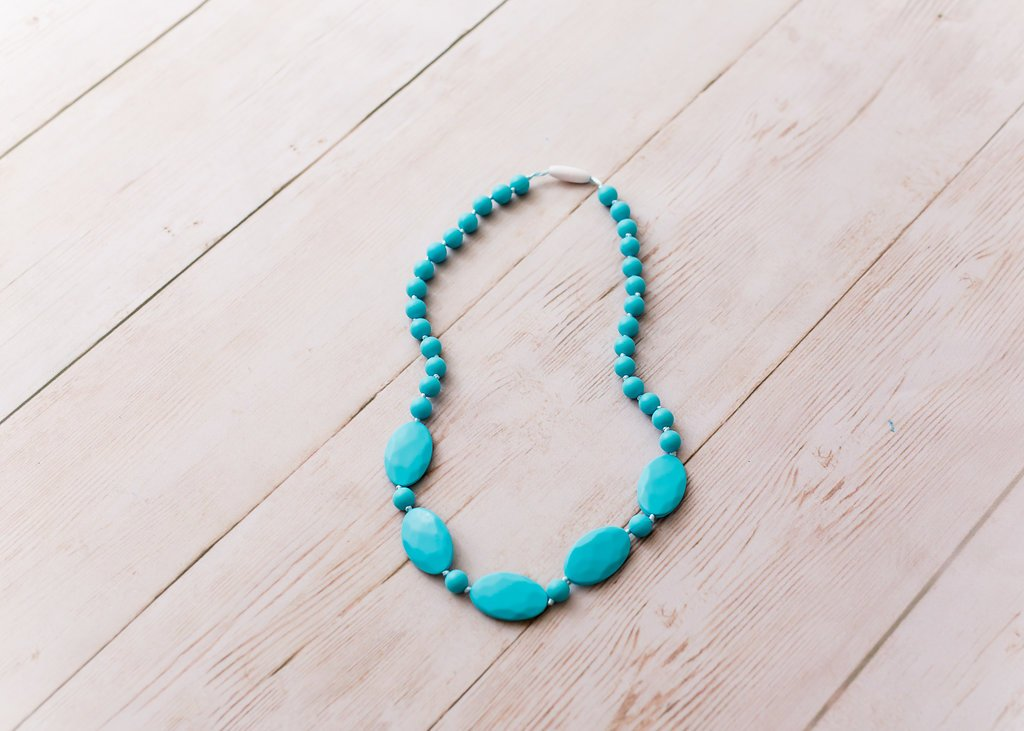 Teal Silicone Teething Beads 100/% BPA Free For Teething Babies /& Stylish Moms Paisley /& Pearl Handmade Baby Teething Necklace for Mom