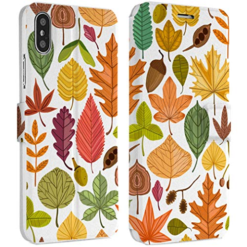 Wonder Wild Autumn Leaves IPhone Wallet Case X/Xs Xs Max Xr Case 7/8 Plus 6/6s Plus Card Holder Accessories Smart Flip Clear Design Protection Cover Spring Fall Seasons Herbarium Collection Artbook ()