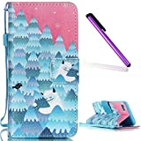 iPhone 6S Case,iPhone 6 Wallet Case,EMAXELER iPhone 6S Flip Folio Case, Beautiful illustration PU Leather Flip Protective Case with Stand Wallet for iPhone 6/6S 4.7 inch-Snow Mountain