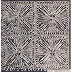 Vintage Crochet PATTERN to make - Motif Bedspread Windmill Filet. NOT a finished item. This is a pattern and/or instructions to make the item only.
