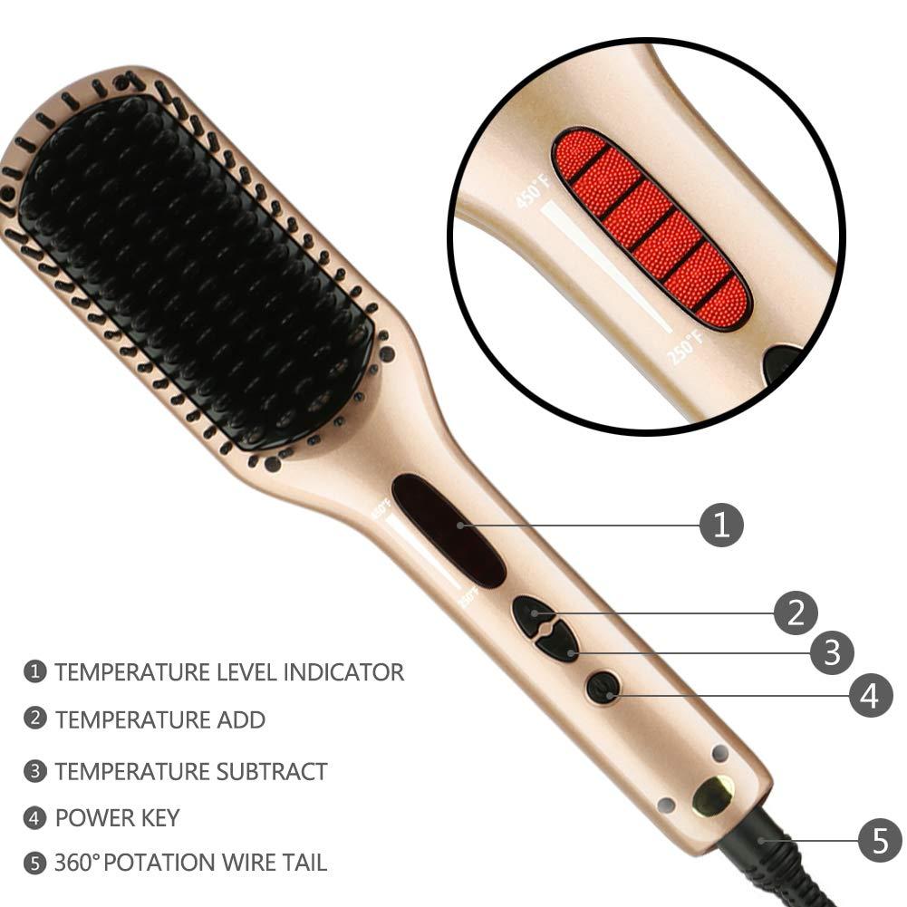 iSHAKO Hair Straightener Brush, Anti Scald Hair Straightening Brush, Portable Frizz-Free Hair Care Silky Straight Heated Comb, Auto Temperature Lock (Rosa Gold)