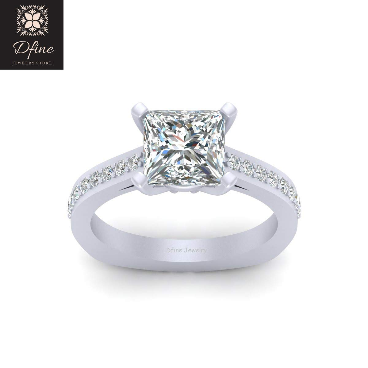 Amazon Com European Style Engagement Ring Princess Cut Simulated