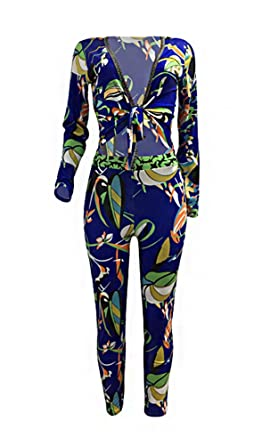 d886b1aa5a1a PrettySoul 2 Piece Outfits for Women Floral Print Long Sleeve Stretch  Blouse Tops + Bodycon Stretch Long Pants at Amazon Women s Clothing store