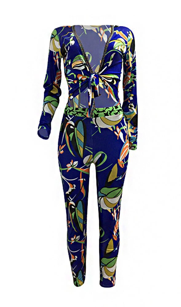 2 Piece Outfits for Women Floral Print Stretch Long Sleeve V Neck Blouse + Bodycon Stretch Long Pants Blue, X-Large