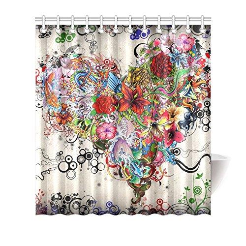 CTIGERS Beautiful Flower Heart Shower Curtain Polyester Fabric Bathroom Decor 66 x 72 Inch - Heart Shower Curtain
