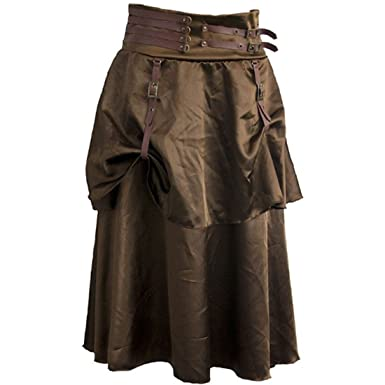 672547fef Brown Vintage Steampunk Skirt Victorian Gothic High Waist Long Walking Slim  Skirt (S)