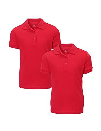 French Toast Girls 2 Pack Uniform Short Sleeve Polo Shirts, Red ...