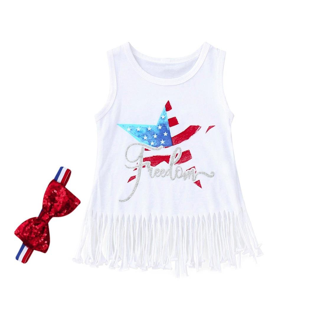 294d7013158a2 Amazon.com: Moonker Baby Girls Dresses, Toddler Infant Girl Letter Print  4th of July Tassel Dress+Headband Outfits Clothes 0-24Month: Clothing