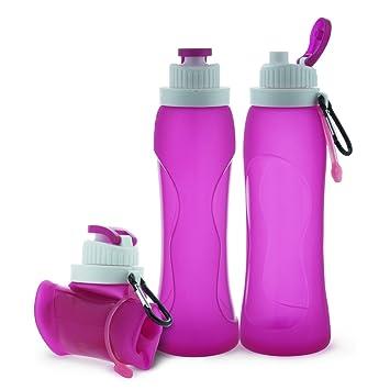La botella de agua plegable de silicona de 17oz (500ML) con una manija para los deportes y el tratamiento medicinal al aire libre Rosa: Amazon.es: Deportes ...
