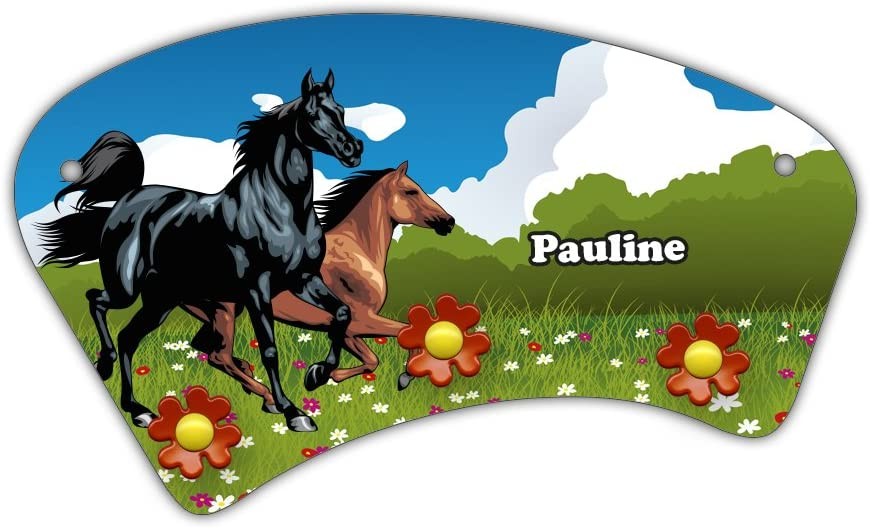 Garderobe f/ür Kinder Wand-Garderobe mit Namen Pauline und sch/önem Pferde-Motiv f/ür M/ädchen Wandgarderobe