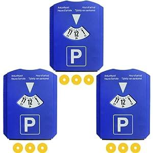 Com-Four Lot de 3 4 en 1 Disque de stationnement avec grattoir, lèvre en caoutchouc, Disque de stationnement, 819737 Jeton de chariot
