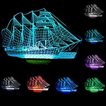 YANGHX 3D illusion Lamp Sailboat Ship Modern100~240v Night 7 Color change LED desk table light lamp (Color: Multicolor)