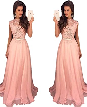 HONGFUYU Womens Blushing Pink Prom Dress Long Chiffon Lace Full Back Prom Dress Pink-UK16
