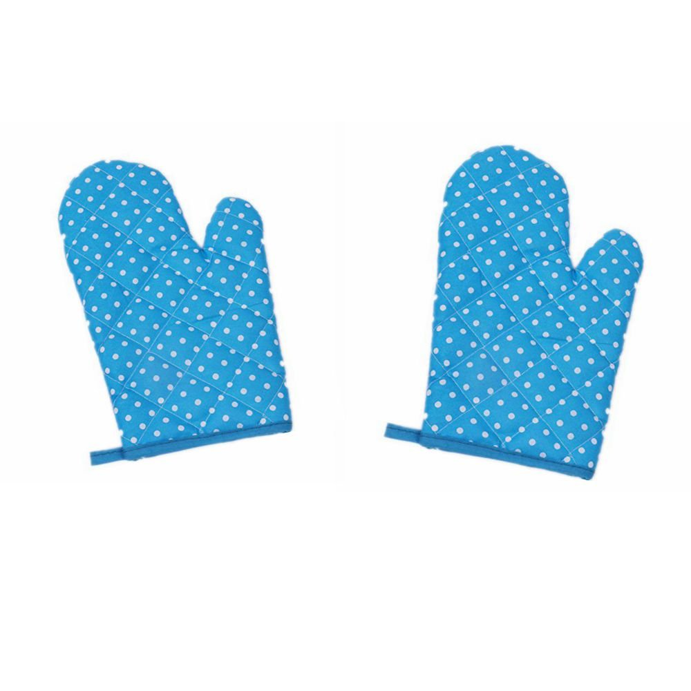 Blue DADA 2Pcs//Set Kitchen Gloves Cotton for Cooking Baking BBQ Grilling Pot Holder eat Resistant Oven Mitts Best Protection Professional Heat Resistant Potholder
