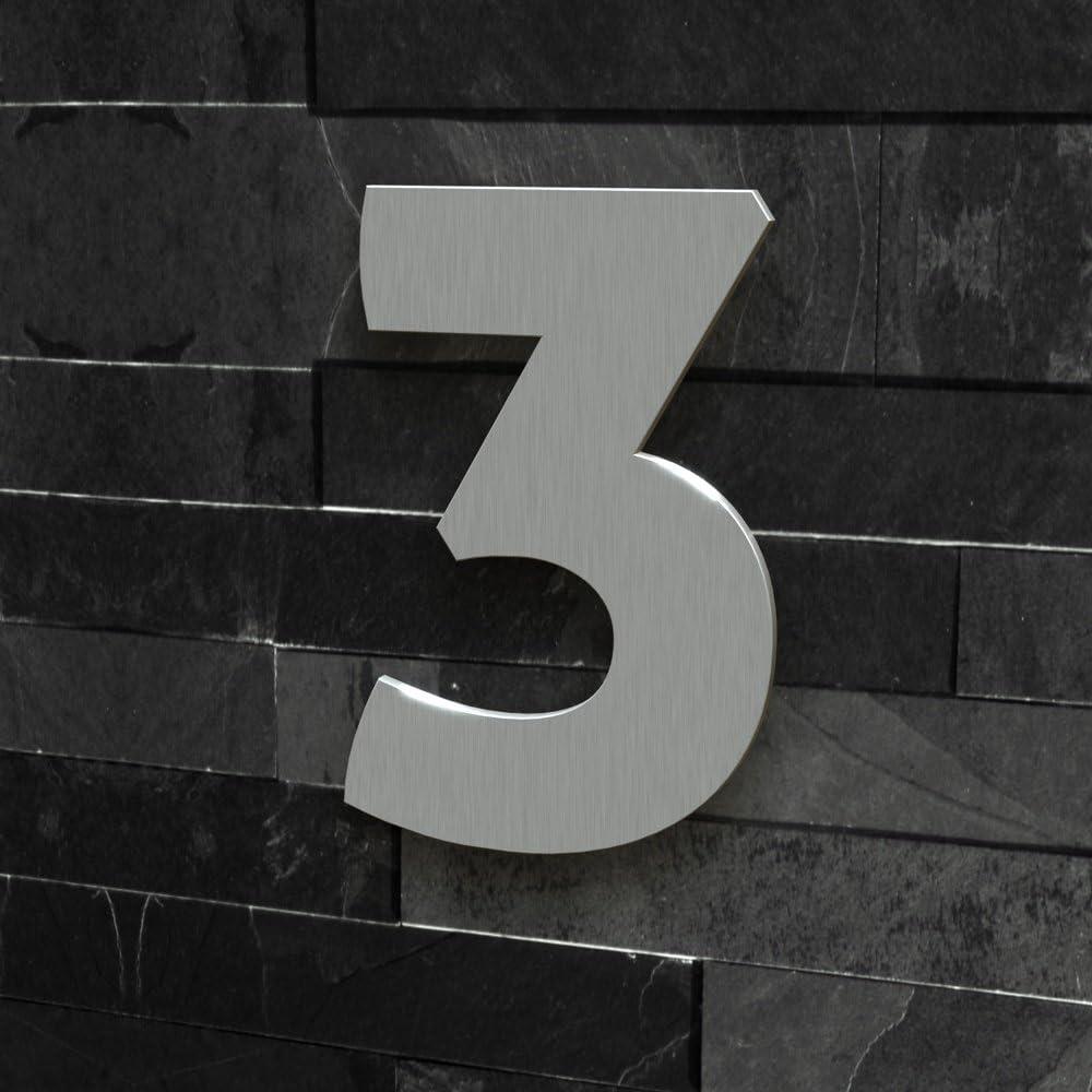 15 cm, Edelstahl geb/ürstet Colours-Manufaktur Hausnummer Modern 0-9 und A-H *Made IN Germany* viele Gr/ö/ßen w/ählbar