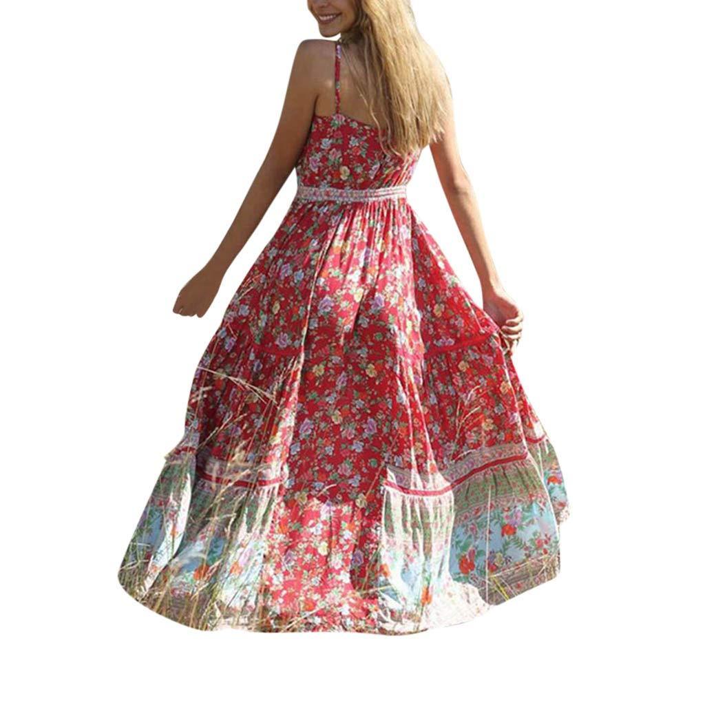Yuwegr Damen Kleider Sommer Casual Blumenrock V-Neck Sling Lange Kleid Gedruckt Strand Maxikleid 3 Farbe S-2XL