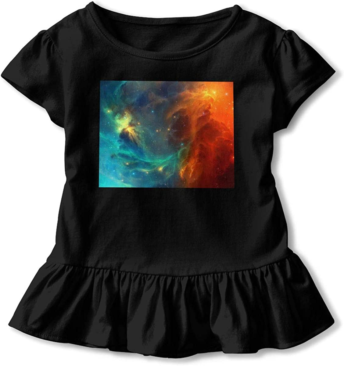 Not Available Space Tyler Worlds Star Toddler Girls Short Sleeve T-Shirt Flounced Casual Outfits for 2-6 Years Old Baby