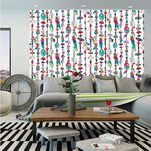 Feather Huge Photo Wall Mural,Marine Accessory Chains Pendants Mineral Stones Shells Beads Watercolor Style Art Decorative,Self-Adhesive Large Wallpaper for Home Decor 108x152 inches,Multicolor