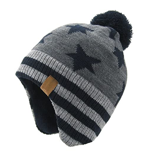Amazon.com  Moon Kitty Baby Boys Girls Knit Hats Winter Fleece ... 43bed9c16bb