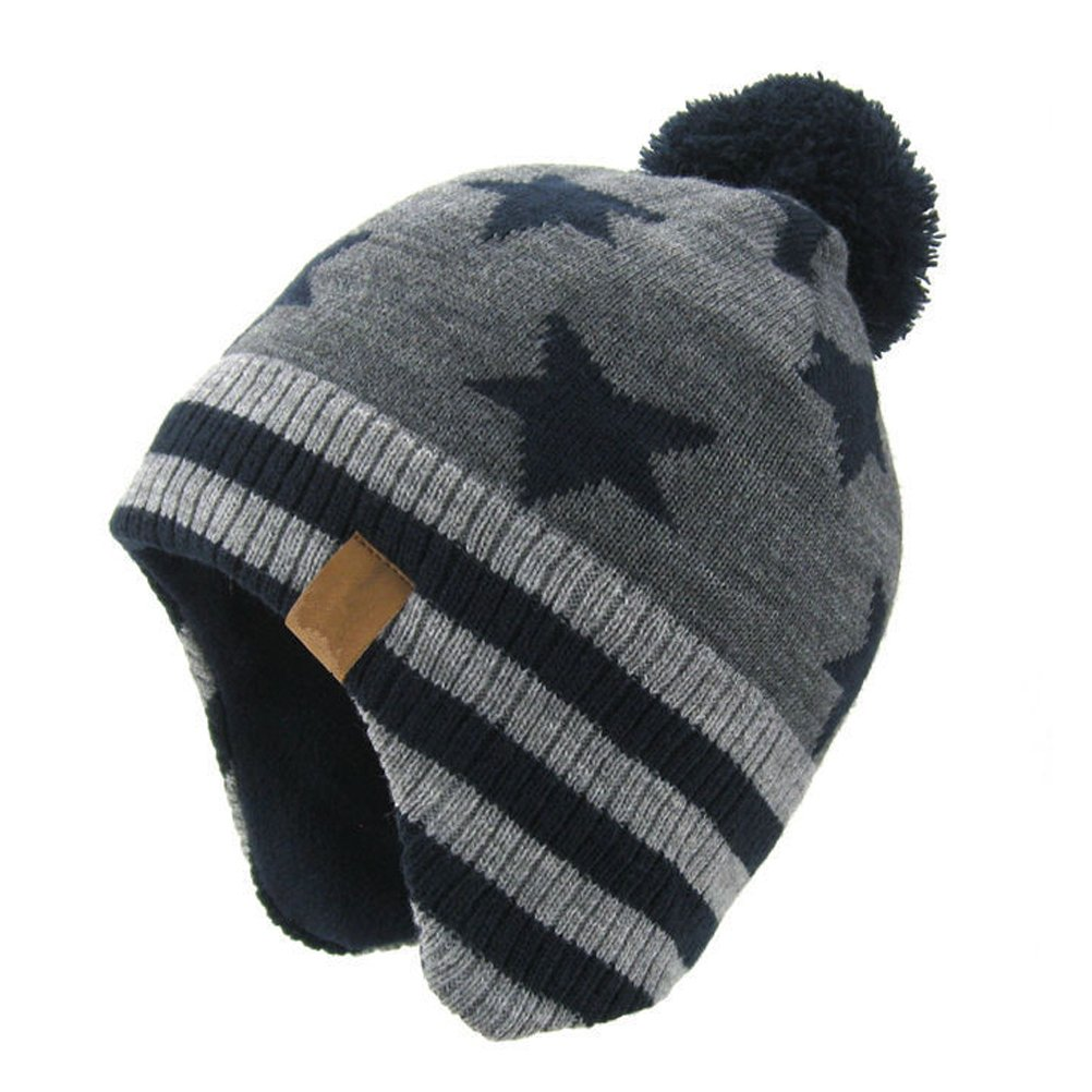 e945cf2de45 Moon Kitty Baby Boys Girls Knit Hats Winter Fleece Skiing Winter Caps with  Warm Ear Flap