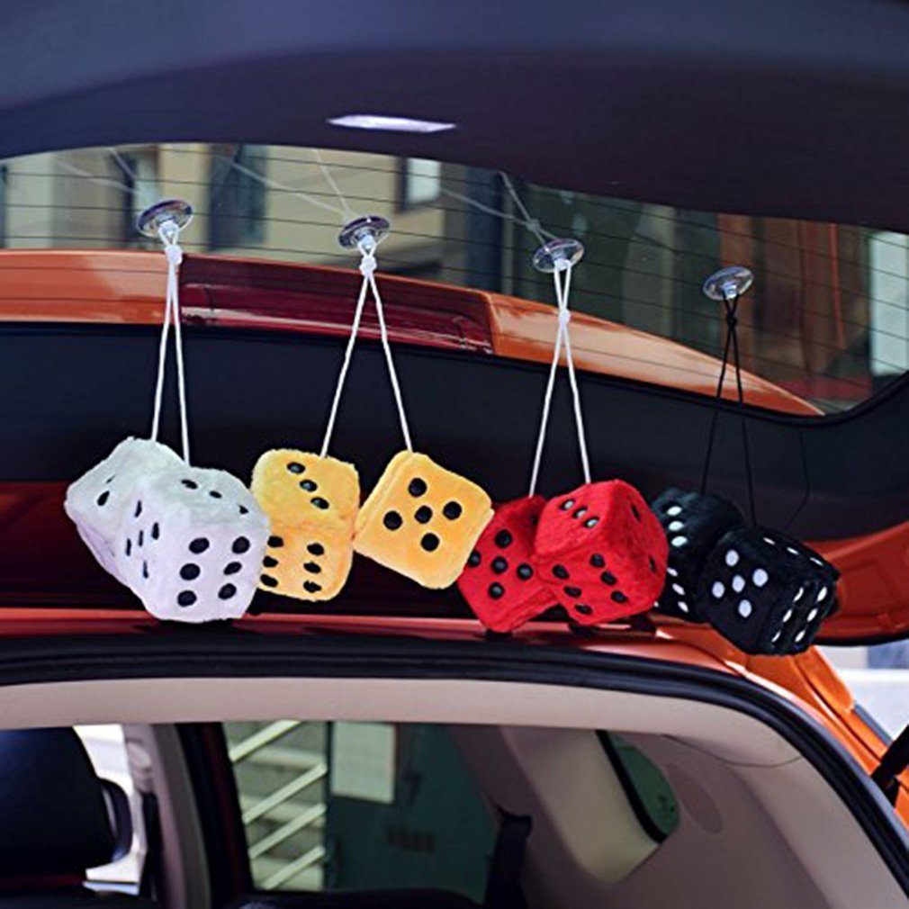 Couple Fuzzy Plush Dice with Dots For Car Interior Ornament Decoration Black Car Mirror Dice,3 inch Pair of Retro Square Mirror Hanging Dice