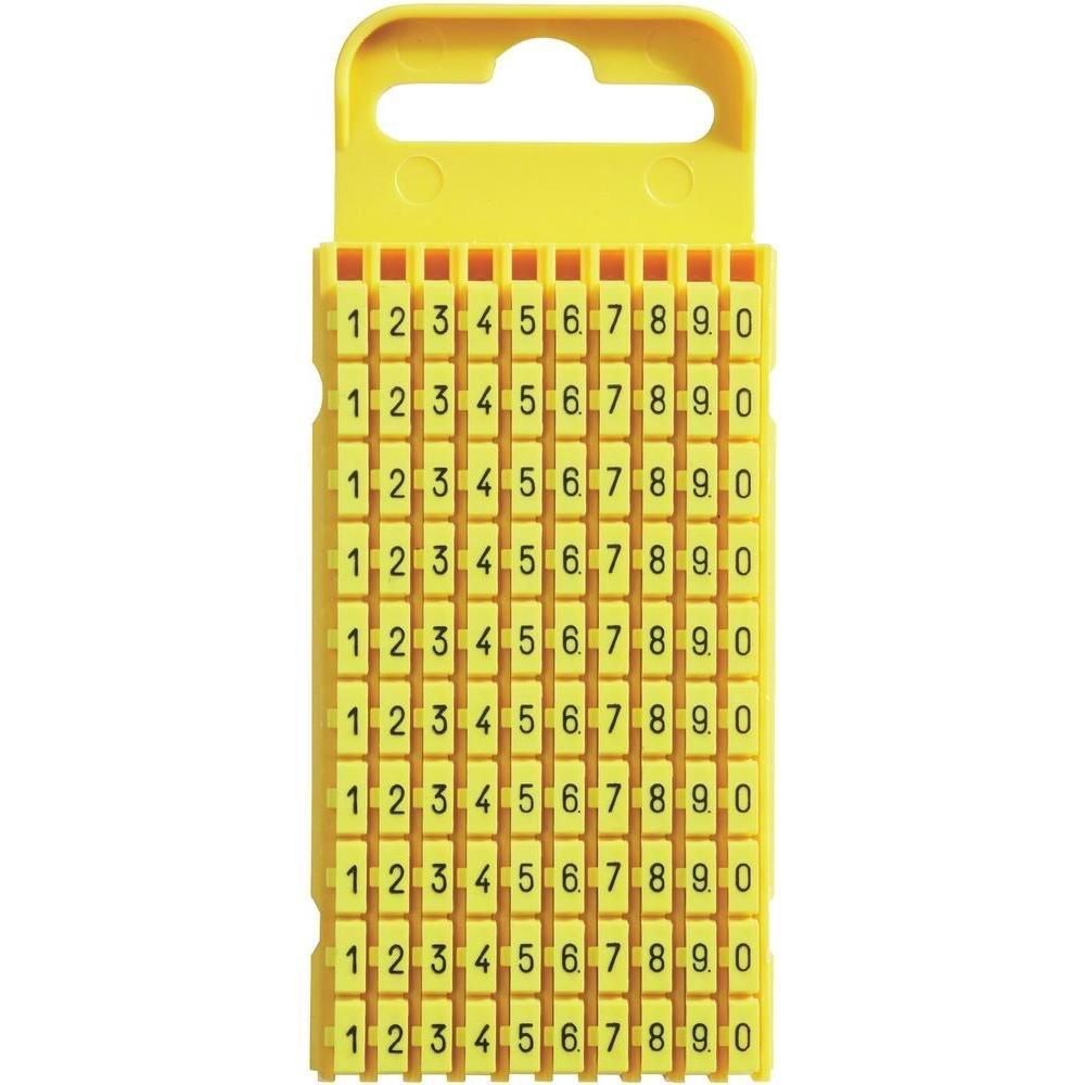 WIC® Kennzeichnungsclip Kennzeichnungsmarkierer für Kabel Aufdruck 0 - 9 Größe 3 Farbe Gelb 100 Stück HellermannTyton 561-03101