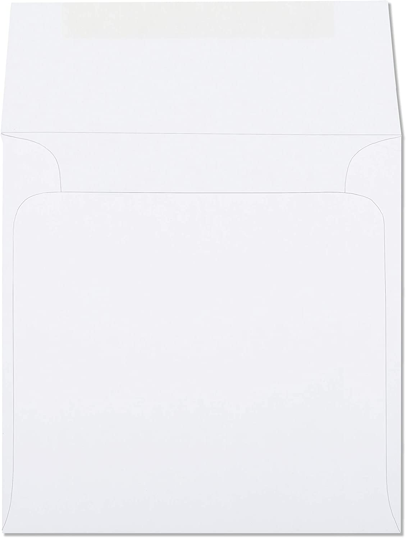 White 6x6 Envelopes Square Bright White For Invitation,Greeting Card 6 x 6 Inch Envelope 50 Pack