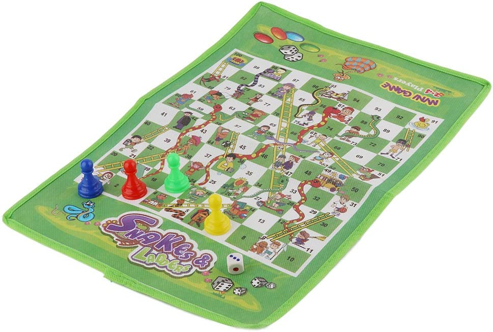 JIACUO Snake and Ladder Kids Flying Chess Non-Woven Fabric Portable Family Board Game