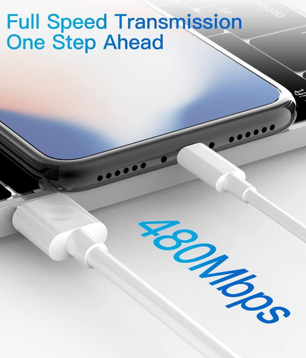 White Lightning Cable MFi Certified iPhone Charger Cable 3Pack 3FT 6FT 9FT Lightning to USB Cable Compatible with iPhone 12 11 Pro Max Xs XR X 8 Plus 7Plus 6 Plus SE iPad iPod and More