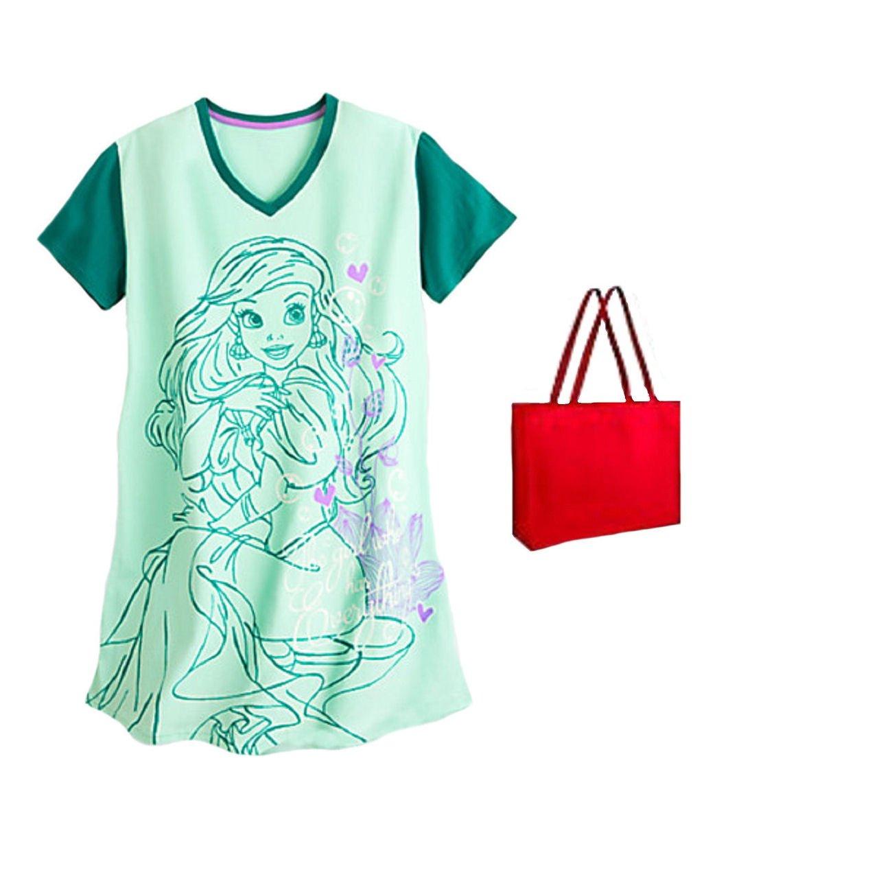 Disney Womens' Ariel Nightshirt Mermaid Green and Gift Bag (3XL)