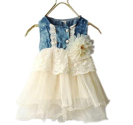 041c6d9bd Bebé marfil tutú vestido vaquero encaje cintura corsé de flores Tela Vaquera  marfil niñas vestido 6
